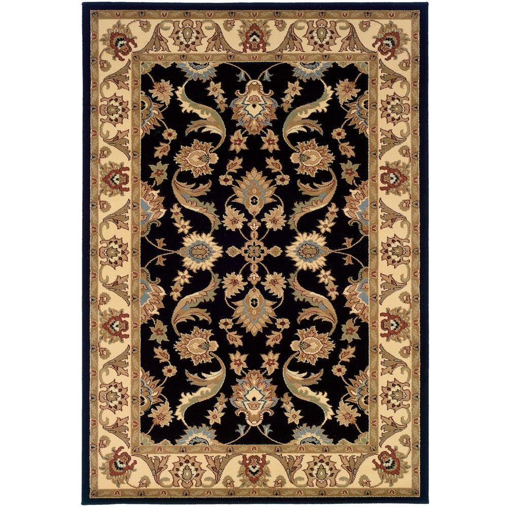 LR Resources Adana Black/Cream Rectangle1 ft. 9 in. x 2 ft. 9 in. Plush Indoor Area Rug