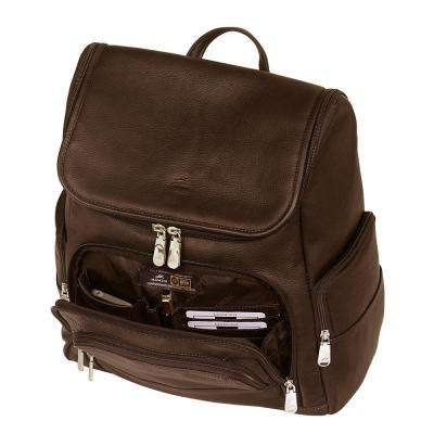 16 in. Brown Backpack with RFID Secure Pocket for Laptop and Tablet