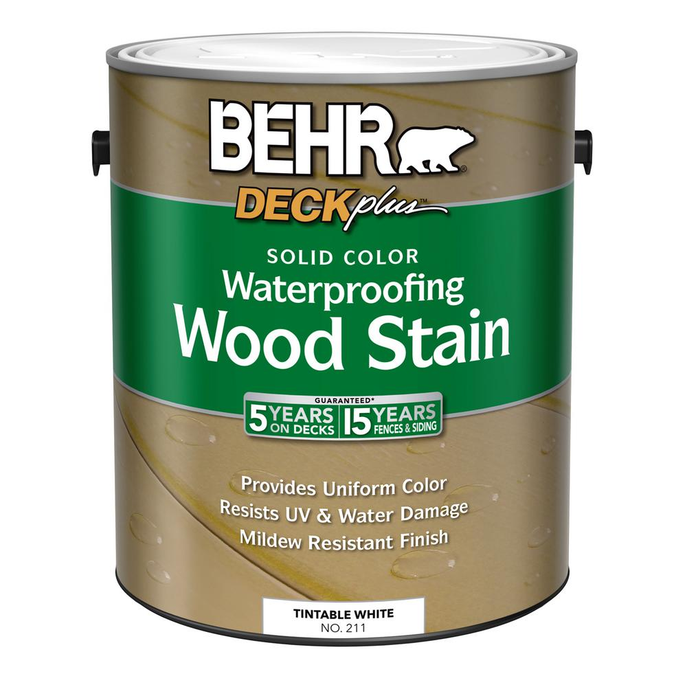 BEHR 1 Gal. DECKplus White Tint Base Solid Color Waterproofing Wood Stain