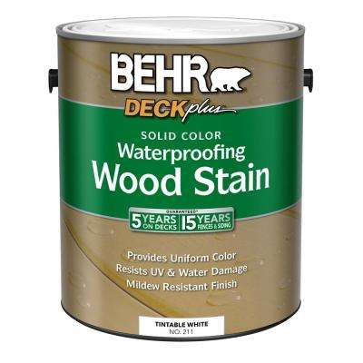 1 Gal. DECKplus White Tint Base Solid Color Waterproofing Wood Stain