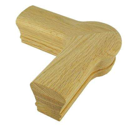 7021 Unfinished Red Oak Quarter-Turn Cap Stair Handrail Fitting