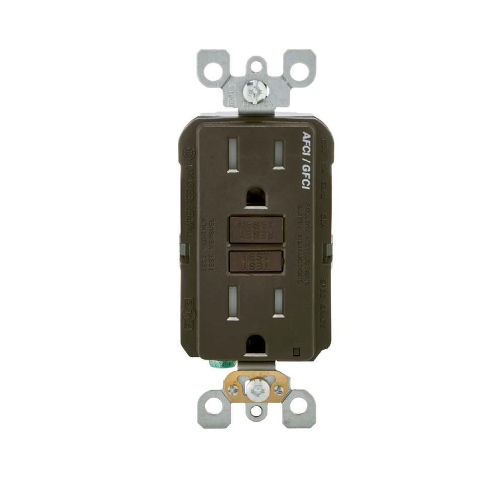 15 Amp 125-Volt AFCI/GFCI Dual Function Outlet, Brown