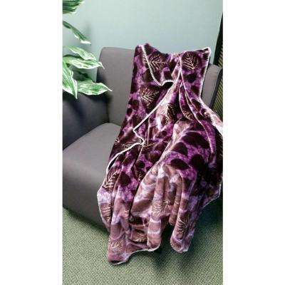 Purple Polyester Patterned Throw