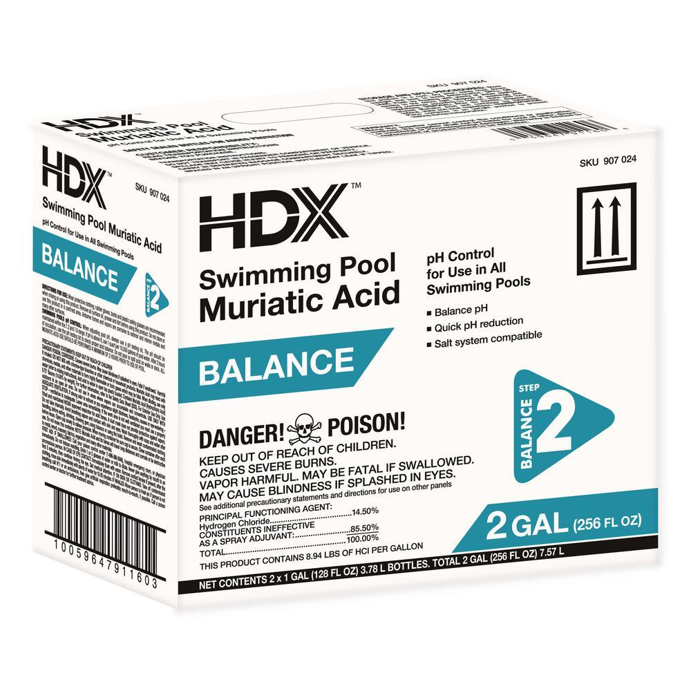 Hdx 1 Gal Swimming Pool Muriatic Acid 2 Pack Balancer 10014hdx The Home Depot