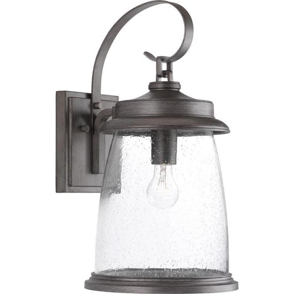 Conover Collection 1-Light Antique Pewter 21 in. Outdoor Wall Lantern Sconce