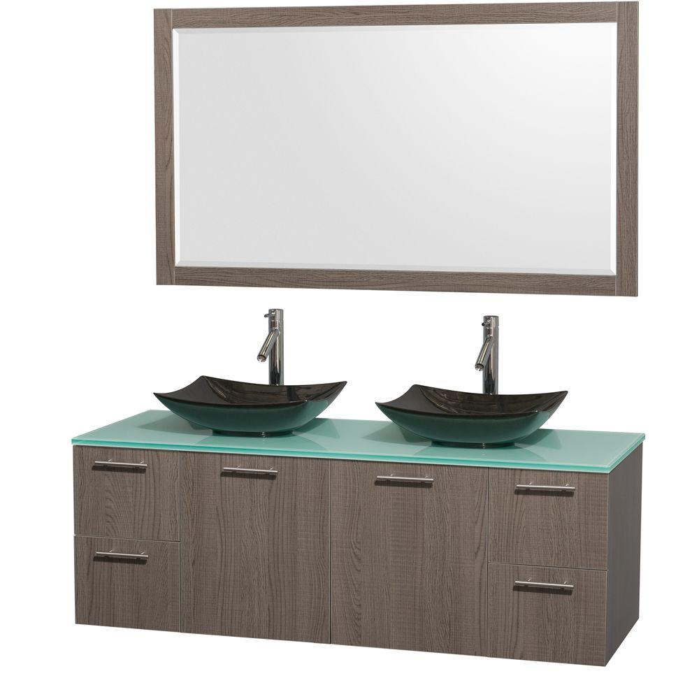 Amare 60 in. Double Vanity in Gray Oak with Glass Vanity