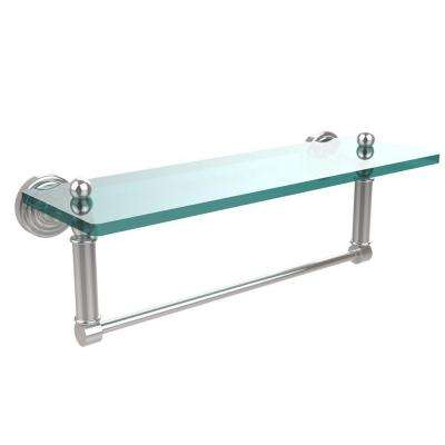 Waverly Place 16 in. L  x 5 in. H  x 5 in. W Clear Glass Bathroom Shelf with Towel Bar in Polished Chrome