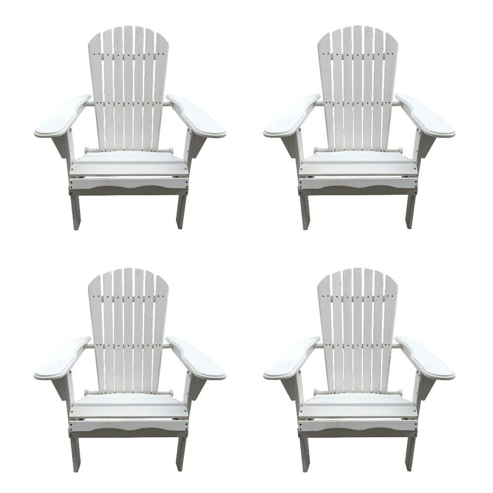 Classic White Folding Wood Adirondack Chair (4-Pack)