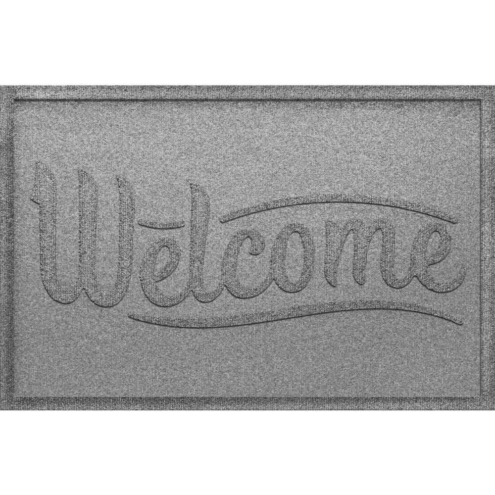 Simple Welcome Medium Gray 24x36 Polypropylene Door Mat