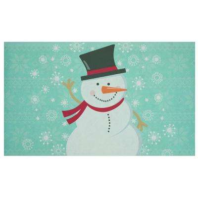 Elegant Entry Waving Snowman 18 in. x 30 in. Holiday Door Mat