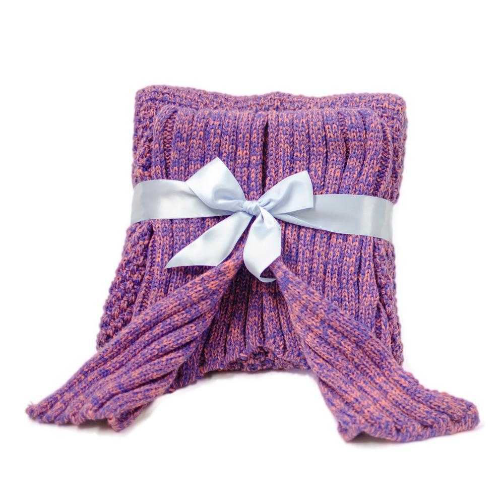 Purple Knit Crochet Mermaid Tail Sleeping Blanket