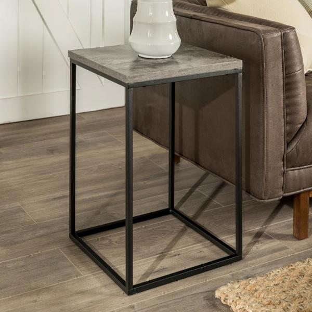 16 Open Box Side Table Dark Concrete By Walker Edison Furniture Company
