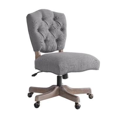 40 in. H Gray and Brown Armless Office Chair with Wooden Base and Tufting