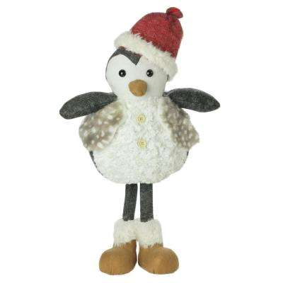 24 in. Christmas Plush Standing Penguin Figure Wearing a Fur Vest