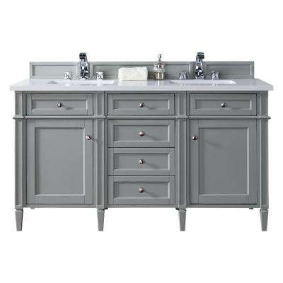 Brittany 60 in. W Double Vanity in Urban Gray with Quartz Vanity Top in White with White Basin