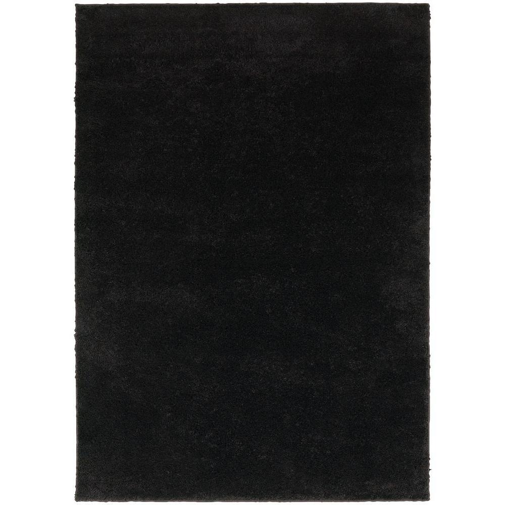 Posh Shag Black 8 ft. x 10 ft. Area Rug