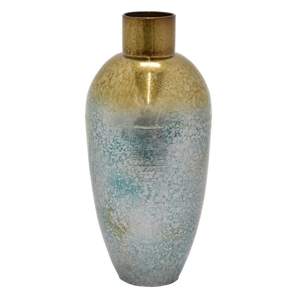 17 in. Green Metal Vase