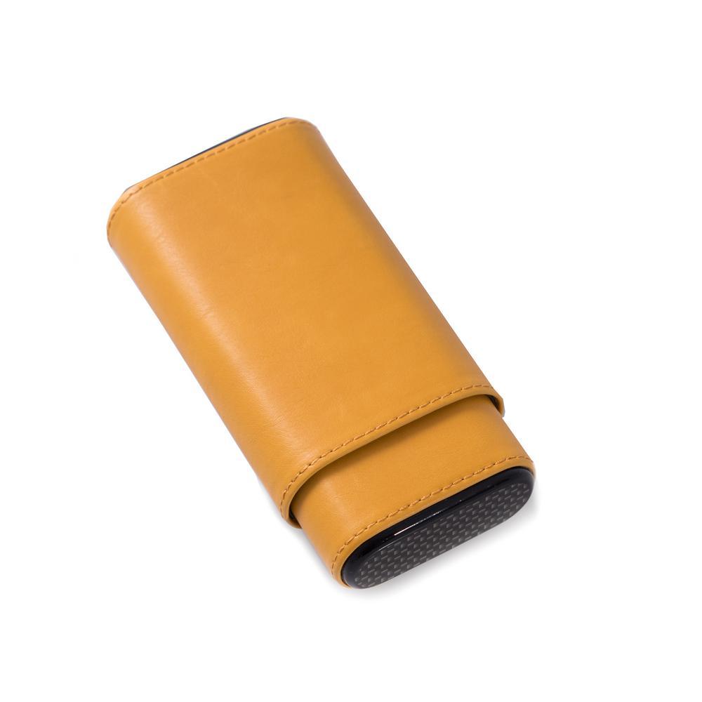 5.75 in. D x 1.25 in. H x 3 in. W Cedar Cigar Case in Yellow/Grey