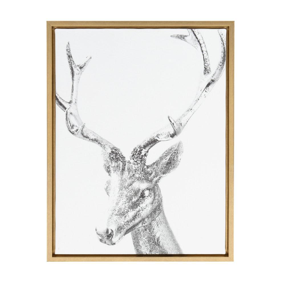 """Sylvie """"Metallic Deer"""" by Golie Framed Canvas Wall Art"""