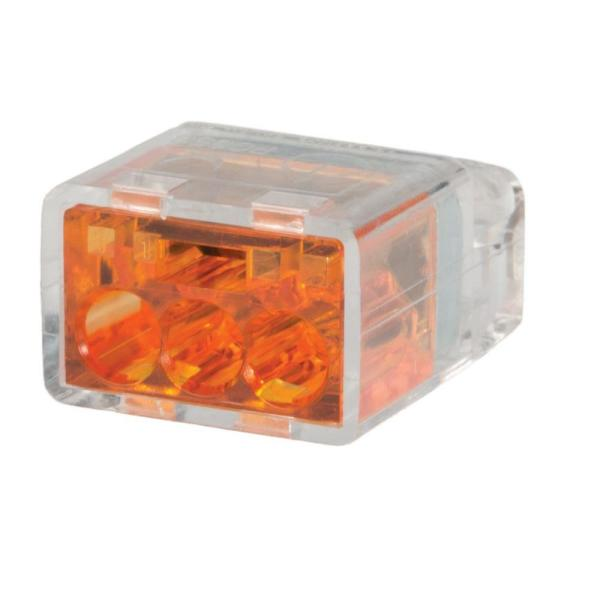 Orange 3 Port Push-In Wire Connector (100-Pack)