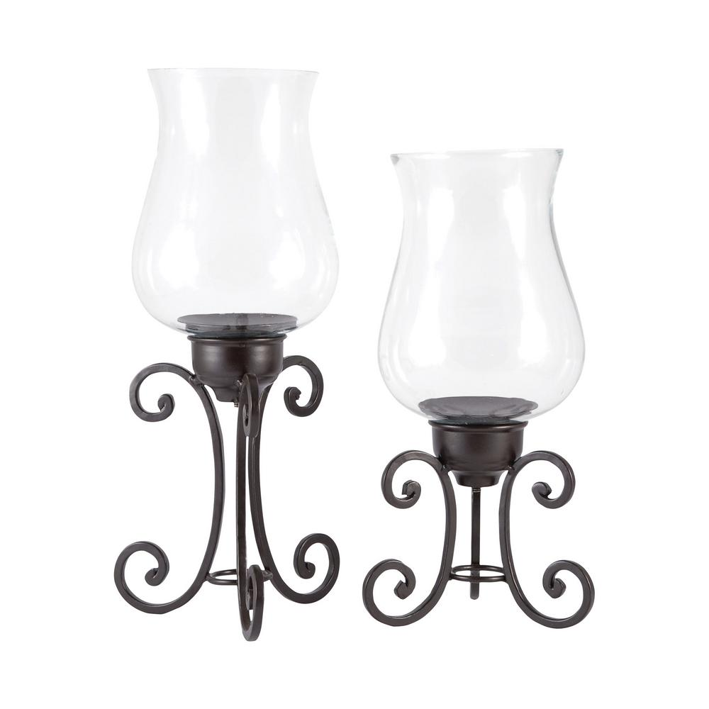 An Lighting Canterbury 13 In And 11 Rustic Iron Clear Gl Candle