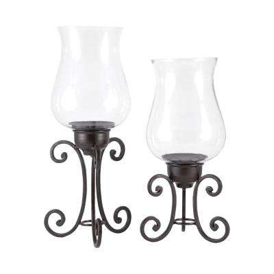 Canterbury 13 in. and 11 in. Rustic Iron and Clear glass Candle Holders (Set of 2)