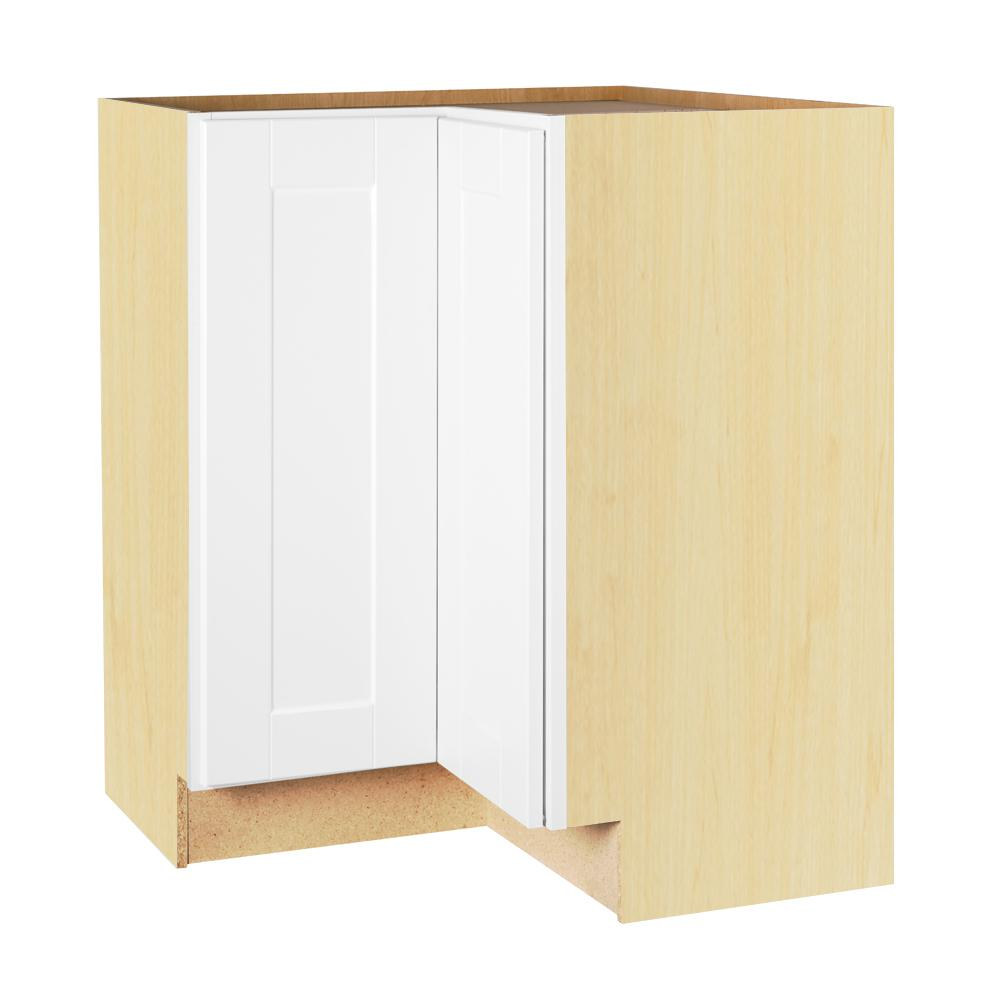 Hampton Bay Shaker Embled 28 5x34 5x16 5 In Lazy Susan Corner Base Kitchen Cabinet Satin White