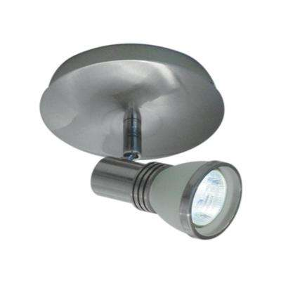 1-Light Accent Brushed Chrome Halogen Ceiling Fixture with One White Frosted Glass Spot