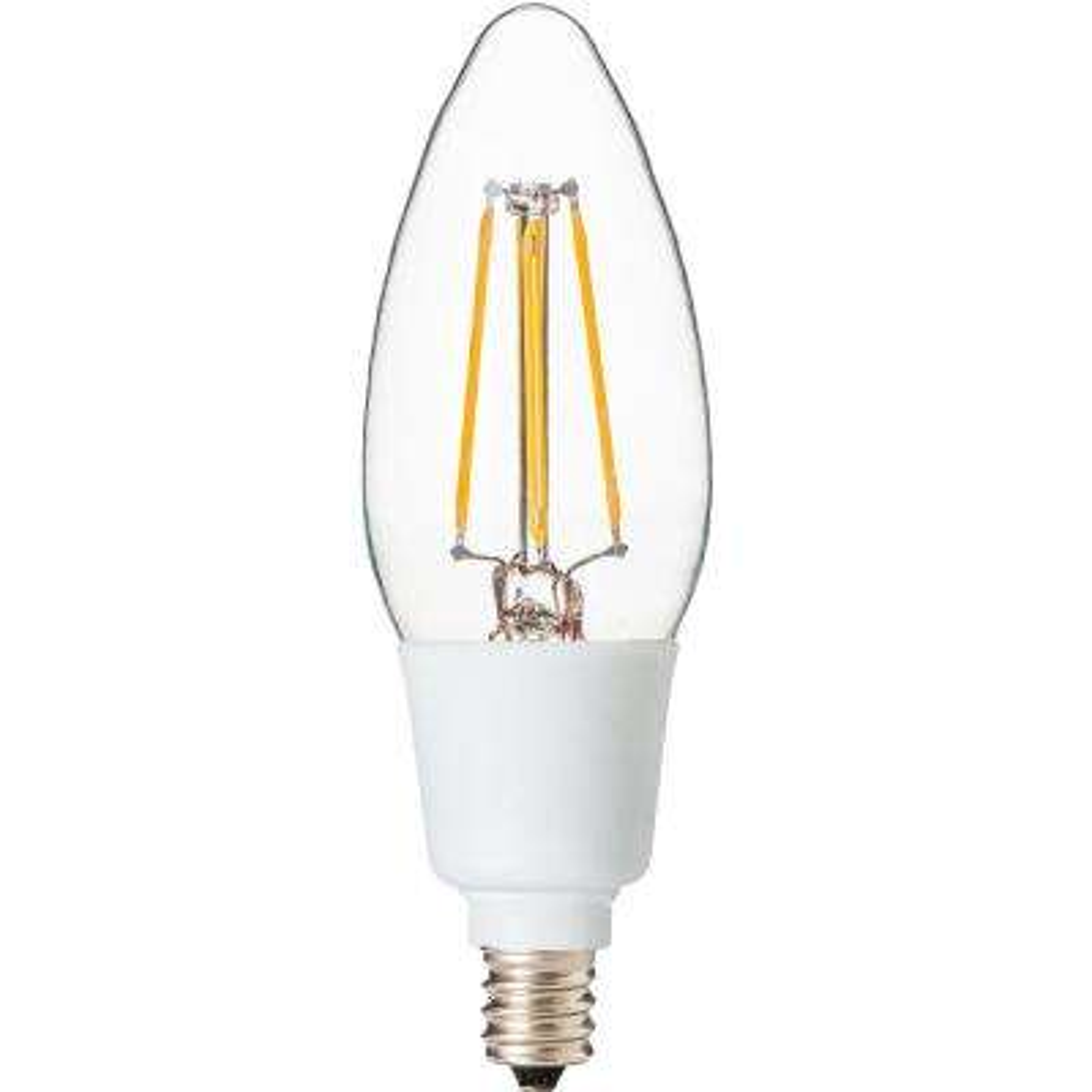 Dimmable Filament 40-Watt Equivalent 2700K E12 B11 LED Replacement Fine Tip Light Bulb, Warm White (Set of 5)