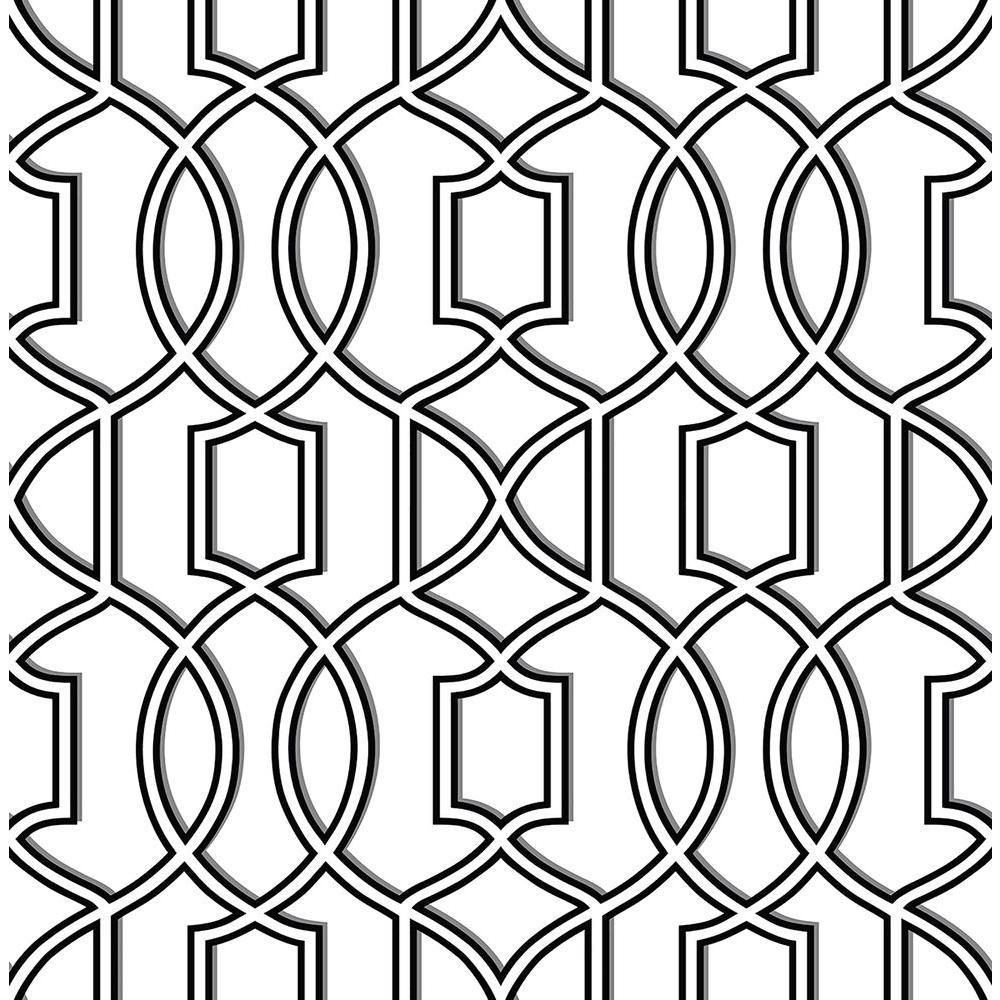 A-Street Quantum Black Trellis Wallpaper 2625-21814