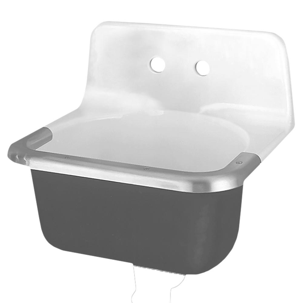 Lakewell Wall Mount Bathroom Sink In White