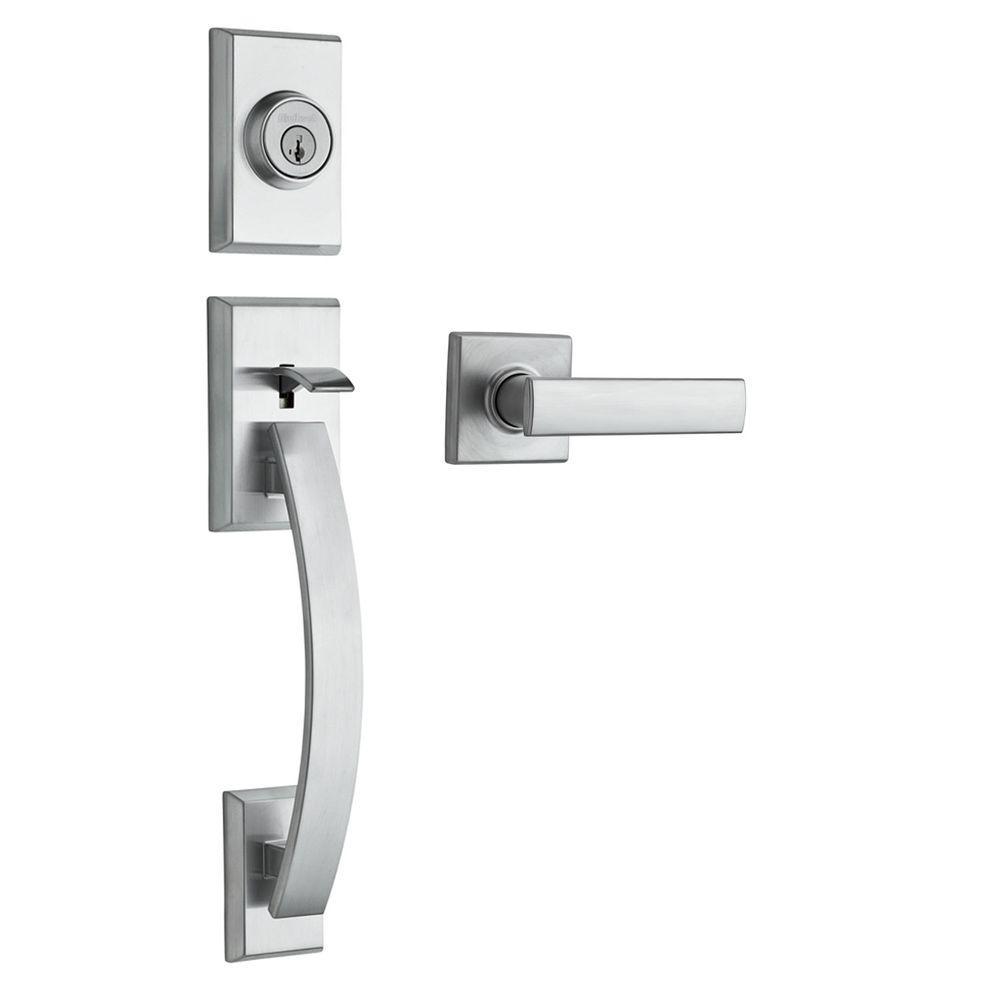 Tavaris Satin Chrome Single Cylinder Door Handleset with Vedani Door Lever Featuring SmartKey Security