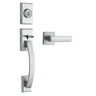 Tavaris Satin Nickel Double Cylinder Door Handleset with Vedani Lever Featuring SmartKey Security