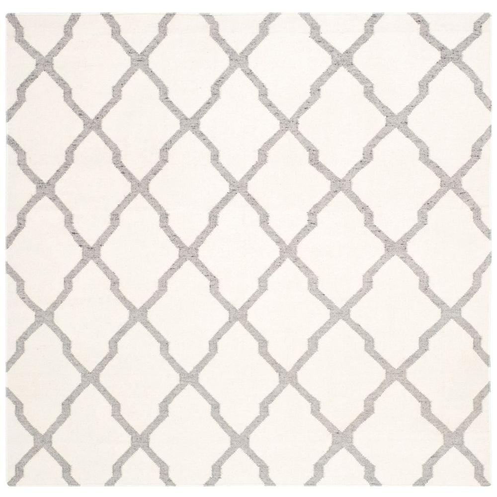 Dhurries Ivory/Grey 6 ft. x 6 ft. Square Area Rug