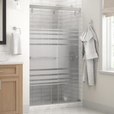 Everly 48 in. x 71-1/2 in. Mod Semi-Frameless Sliding Shower Door in Chrome and 1/4 in. (6mm) Transition Glass