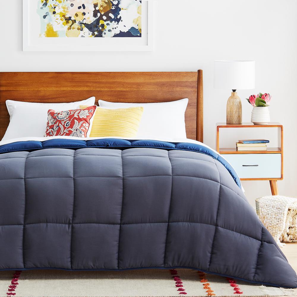 Navy/Graphite Oversized King Down Alternative Microfiber Comforter