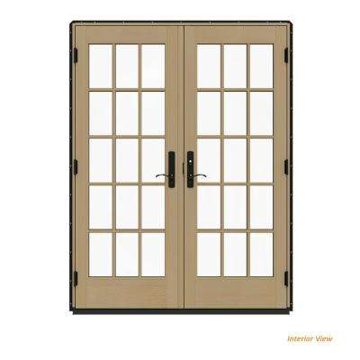 60 in. x 80 in. W-4500 Contemporary Black Clad Wood Left-Hand 15 Lite French Patio Door w/Unfinished Interior
