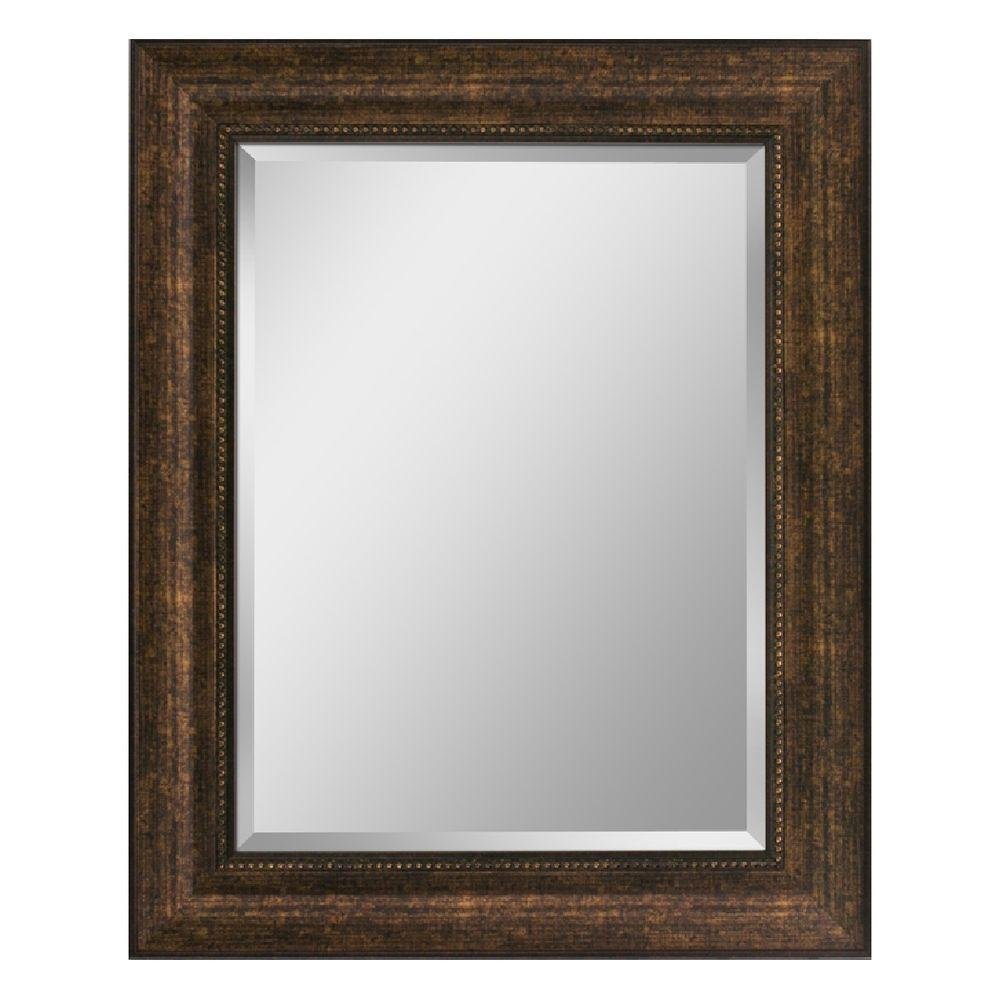 Deco Mirror 29 in. x 35 in. Beaded Mirror in Bronze-8940 - The Home ...