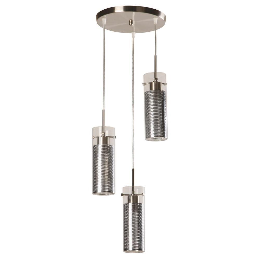 3-Light Modern Brushed Nickel Double Shade Chandelier