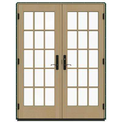 60 in. x 80 in. W-4500 Green Clad Wood Left-Hand 15 Lite French Patio Door w/Unfinished Interior
