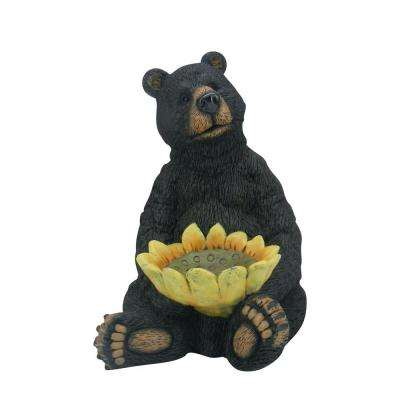 Black Bear Sitting Statue with Sunflower Birdfeeder