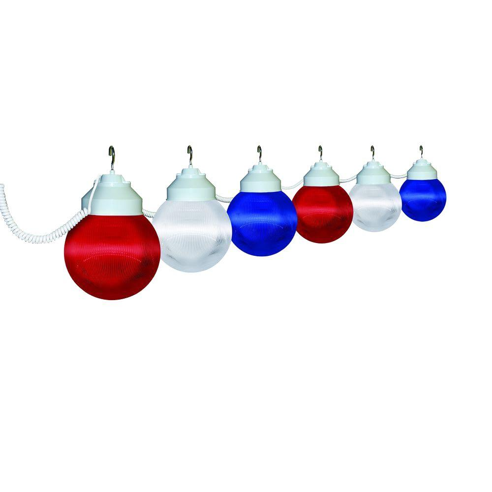 polymer products 6 light outdoor patriotic string light set