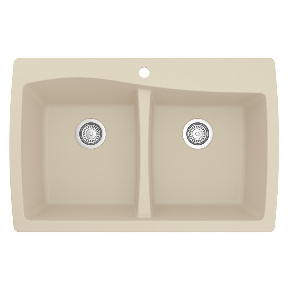 Karran Drop-In Quartz Composite 34 in. 1-Hole 50/50 Double Bowl Kitchen Sink in Bisque