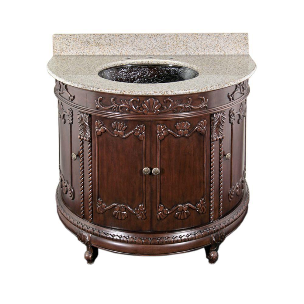 JSG Oceana Semi-Circle 37 in. Vanity in Espresso with Granite Vanity Top in Beige with Black Nickel Undermount Sink-DISCONTINUED