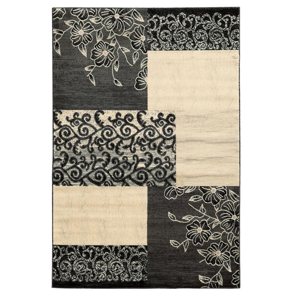 Linon Home Decor Elegance Napa Patchwork Gray 2 Ft. X 3 Ft. Area Rug