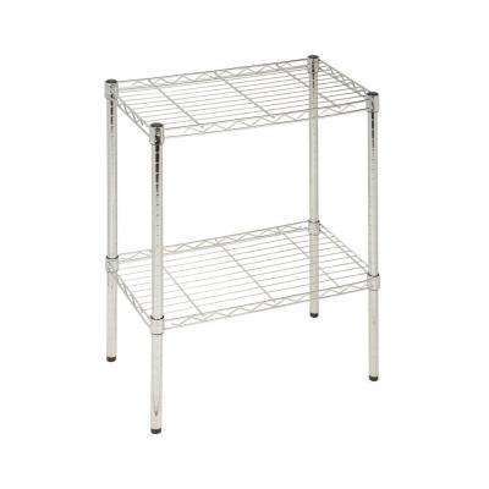 13.5 in. L x 23.5 in. W x 22.25 in. H 250 lbs. Capacity 2-Tier Steel Utility Shelf in Chrome