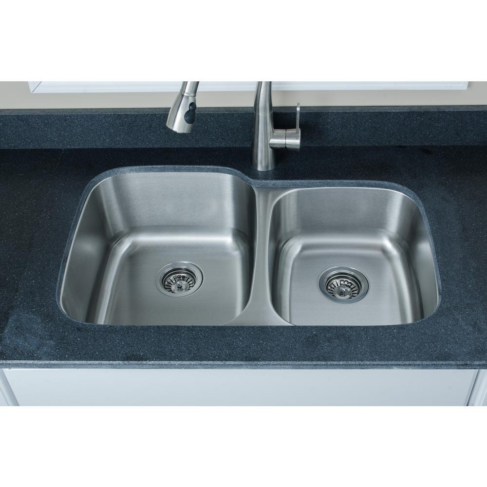The Craftsmen Series Undermount Stainless Steel 32 in. 60/40 Double Bowl Kitchen Sink
