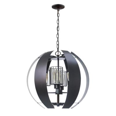 4-Light Worx Oil Rubbed Bronze Chandelier with Cage Shades