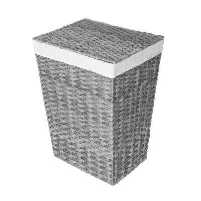 Granite Gray Handwoven Lidded Laundry Hamper with Canvas Liner