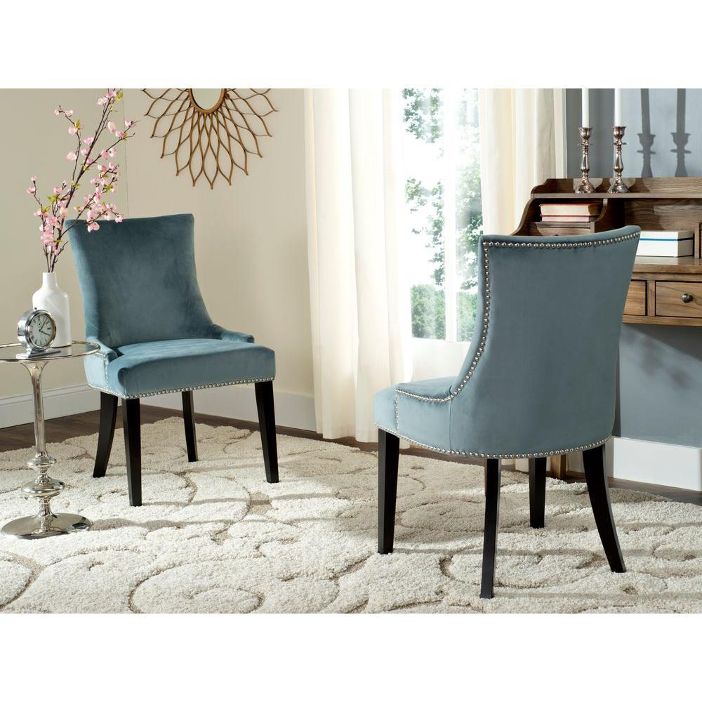 Elegant Lester Blue Cotton Dining Chair (Set Of 2)